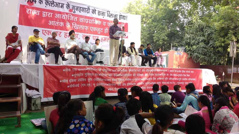LRS President Shri Raghavan addressing the rally