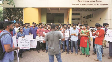 IIT Bombay students holding a protest demonstration