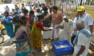 Food packets being distributed